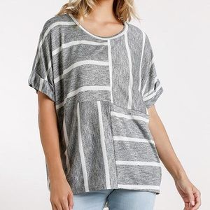 Horizontal And Vertical Striped Short Sleeve Top